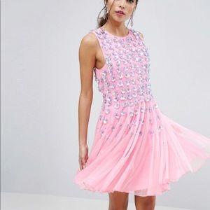 ASOS Pink Floral Embellished Dress